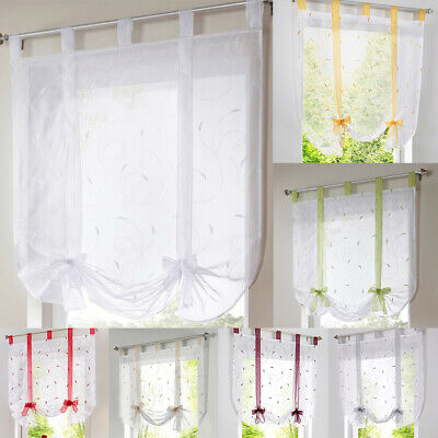 £9.66 • Buy Tap Top Roman Curtains -Tie Up Shade , Window Sheer Voile Valance Blinds VARIOUS