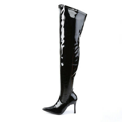 0c785a50e96d Black Patent Thigh High Over The Knee Wide Calf Width Fetish Pretty Woman  Boots • 59.95