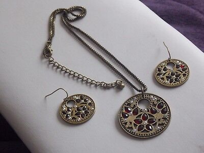 Wonderful Indie Style Brass & Red Diamante Pendant Necklace & Earrings Set • 4.90£