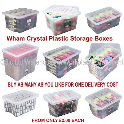 £12 • Buy NEW British Made Clear Plastic Storage Box Boxes With Lids CHOICE OF 17 SIZES
