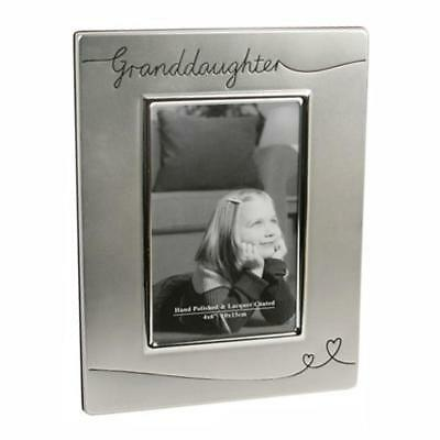 £12.99 • Buy Silver Plated Satin Finish Photo Frame With Hearts - Granddaughter