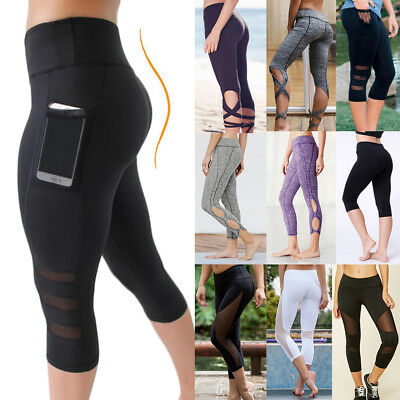 AU18.99 • Buy 3/4 Women High Waist Capri Yoga Fitness Capri Sports Leggings Running Gym Pants