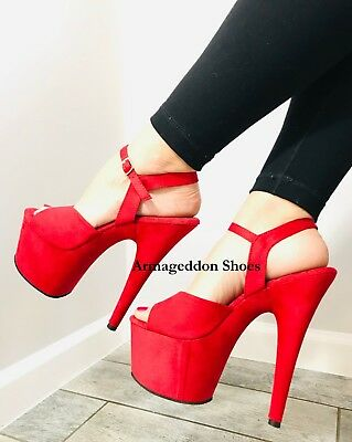 AU85.81 • Buy 7  Inch Red Suede 1950s Pinup Girl Burlesque Dancer Stripper Heels Shoes Pleaser