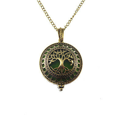 AU4.04 • Buy Silver/Bronze Brass Aromatherapy Oil Diffuser Life Tree Pendant Locket Necklace