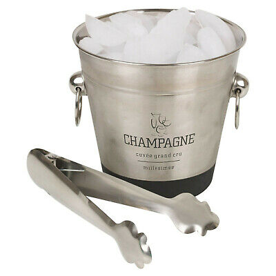 Stainless Steel Champagne Metal Party Bowl Wine Beer Ice Cooler Bucket With Tong • 6.99£
