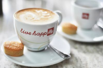 ILLY CAPPUCCINO 6 Oz  2 CUPS + 2 SAUCERS LIVE HAPPilly,   • 70.10£