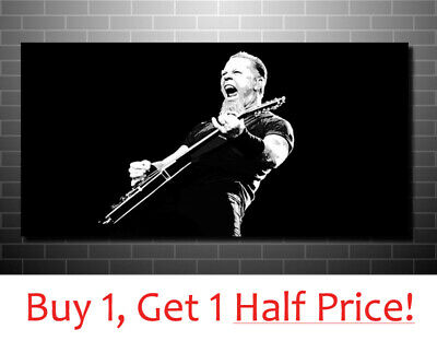 JAMES HETFIELD METALLICA CANVAS PRINT : READY TO HANG  Black And White Wall Art • 34.99£