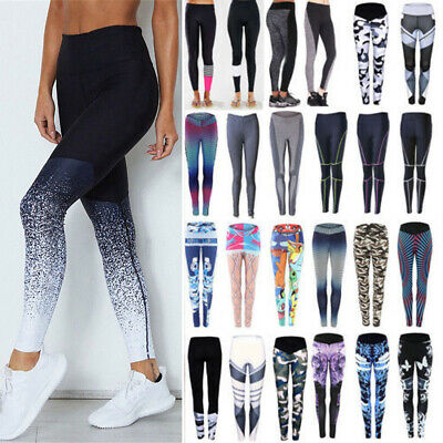 AU15.88 • Buy Women High Waist Stretch Leggings Fitness Yoga Pants Athletic Gym Sport Trousers