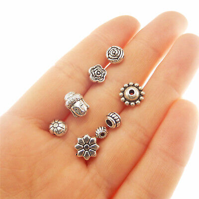 $ CDN14.59 • Buy 280pcs Mixed Lots Jewelry Making Vintage Silver Alloy Assort Beads DIY Findings