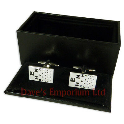 Opticians Cufflinks - Gift Boxed - Optical Optometrist Eye Test Chart • 9.99£