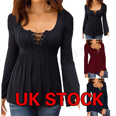 £9.54 • Buy UK Womens Lace-Up Sexy V Neck Ladies Party Cocktial Club Tops Shirt Blouse Plus