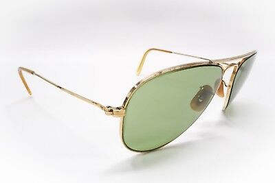 6744bde29df Vintage 52mm B L RAY BAN 1 10 12K GF Gold RB3 TRU GREEN AVIATOR SUNGLASSES