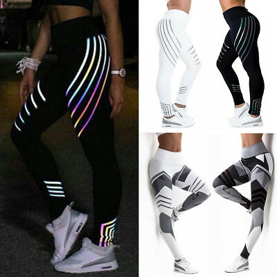 AU13.99 • Buy Womens Reflective Workout Leggings Yoga Running Fitness Sports Pants Trousers AU