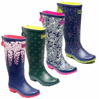 Womens FreeStep Memory Foam Rubber Outdoor Wellies Wellington Boots Sizes 3 To 8 • 18.99£
