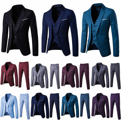 $ CDN41.51 • Buy 3PCS Mens Formal Groom Wedding Suit Set Slim Fit Trendy Tuxedo Jacket+Vest+Pants