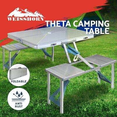 AU66.95 • Buy Weisshorn Folding Camping Table And Chairs Set Portable Outdoor Picnic Beach BBQ