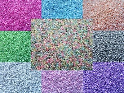 £1.99 • Buy 3000 Pastel Pearl Glass Seed Beads Size 11/0 2mm 50g For Jewellery BUY 4 FOR 3