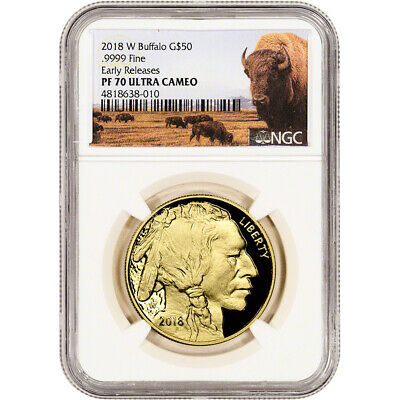 $2134.10 • Buy 2018-W American Gold Buffalo Proof 1 Oz $50 NGC PF70 Early Releases Bison Label