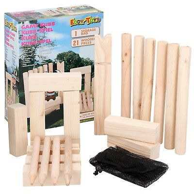 £21.99 • Buy 30cm King Kubb Wooden Birch Game Family Outdoor Garden Toy Chess Party Games Fun