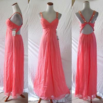 $34.99 • Buy NEW Aidan Mattox CORAL Pleated Bust GRECIAN Jeweled CUT-OUT Maxi DRESS GOWN 0