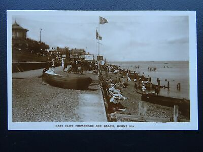 Kent HERNE BAY East Cliff Promenade & Beach C1920's RP Postcard • 7.50£