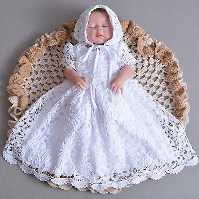 £23.99 • Buy Baby Girls Lace Christening Gown Party Dress And Bonnet 0 3 6 9 12 Months
