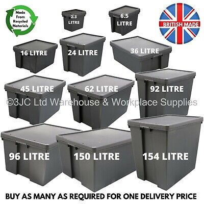 £14 • Buy Wham Bam Black Heavy Duty Plastic Storage Box Boxes With Lids - Recycled Plastic