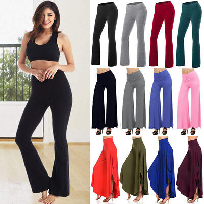 AU27.98 • Buy Womens Casual High Waist Yoga Pants Running Trousers Wide Leg Flared Leggings AS