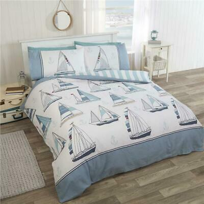 Nautical Ship Duvet Cover Sets With Blue Sailing Boats & Yachts Bedding • 19.94£