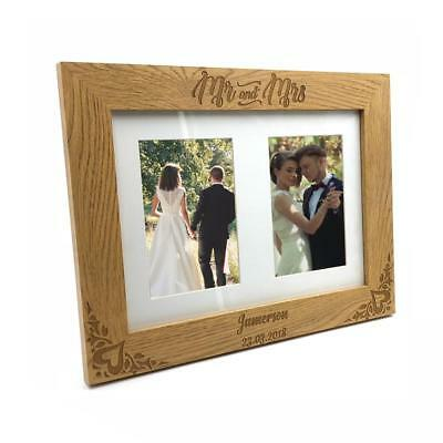 £14.11 • Buy Personalised Mr And Mrs Wedding Double Wooden Photo Frame Gift C28-A4-6