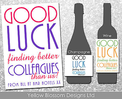 £3.19 • Buy Personalised Wine Champagne Bottle Label Funny Humour New Job Work Comical Gift