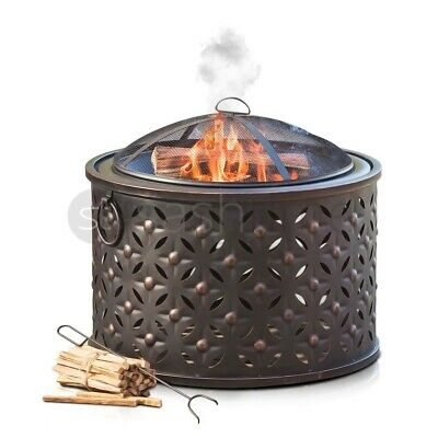 Fire Pit Heavy Large Outdoor Firepit Garden Heater Round Table BBQ Brazier&Grill • 79.95£
