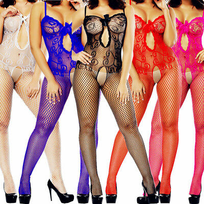 $8.16 • Buy Women Lace Bow Body Stocking Sexy Lingerie Sleepwear Bodysuit Fishnet Babydoll