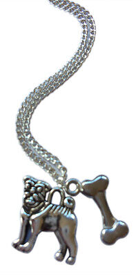 £3.95 • Buy Pug And Bone Necklace - 18  Silver Plated Chain