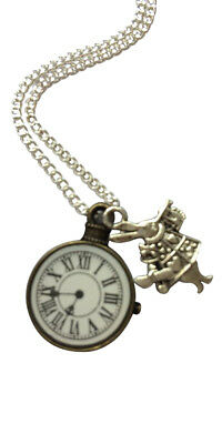 £4.95 • Buy Alice In Wonderland Clock And Rabbit Necklace - 18  Silver Plated Chain