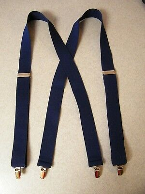 $7.45 • Buy Solid Color Navy Blue 54 Inch Strong Jaw Clips Clamp On Suspenders 1.5 Inch Wide