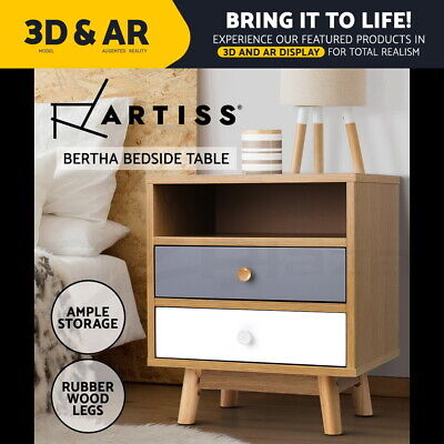 AU76.95 • Buy Artiss Bedside Tables Side Table 2 Drawers Nightstand Bedroom Cabinet Wood