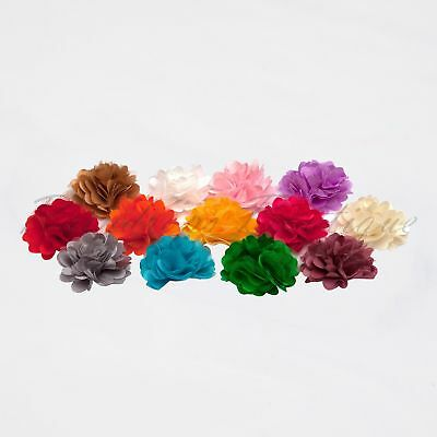 2  Carnation Flower Satin & Tulle Tutu Dress Hairbow Wedding Craft Embellishment • 1.35£