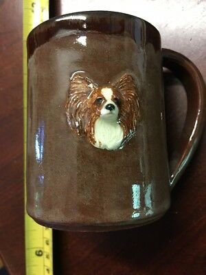 £9.95 • Buy Vintage Red R/w Sable Papillon Butterfly Dog HandMade Clay Appliqué Mug Signed
