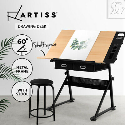 AU211.90 • Buy Artiss Drafting Table Tilt Drawing Desk With Stool Set Drawer Art Craft Studio