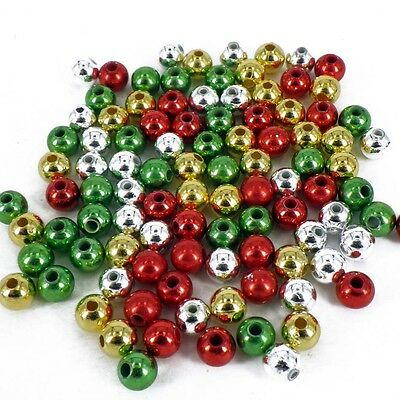 £1.99 • Buy 4mm CHRISTMAS RED GREEN GOLD SILVER PEARLS 160 BEADS CRAFT PB2