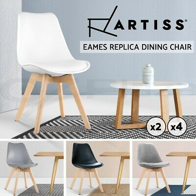 AU109.90 • Buy Artiss Eames Dining Chairs Chair Replica PU Leather Fabric Cafe Set Of 2 4