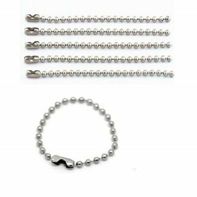 10cm Silver Metal Ball Chain Bead Connector Clasp Keyring Dog Tags Necklace Tag • 2.99£