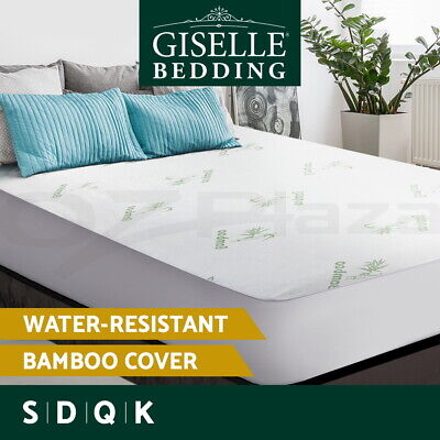AU32.90 • Buy Giselle Water-resistant Mattress Protector Bamboo Fiber Cover Fitted All Sizes