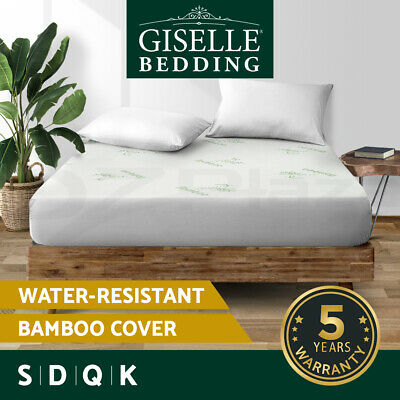 AU32.90 • Buy Giselle Waterproof Mattress Protector Queen Bamboo Fiber Cover Fitted All Sizes
