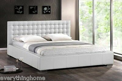 $ CDN976.84 • Buy Modern White Faux Leather Queen King Platform Bed Frame Tufted Padded Headboard