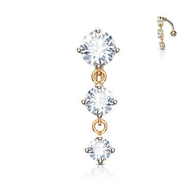 £4.99 • Buy  REVERSE DROP TOP DOWN BELLY BAR  3 ROUND CLEAR CRYSTAL Cz  PLATED ROSE GOLD