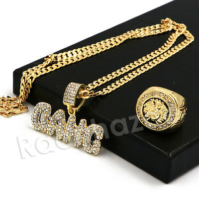 £9.70 • Buy HipHop Iced GANG Bubble Pendant W/ Medusa Ring/ 5mm 24  Concave Cuban Chain