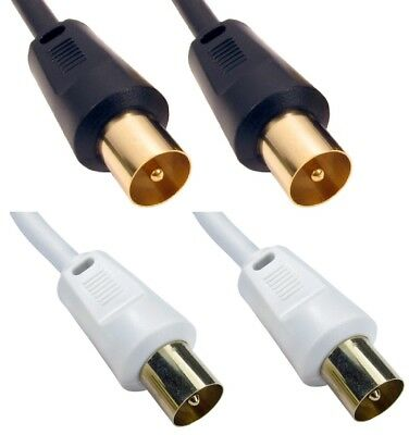 Coaxial TV Aerial Cable RF Fly Lead Digital Male To Male 1m 2m 3m 5m 10m 20m 30m • 2.49£