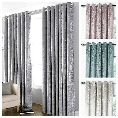 Bliss Luxury Crushed Velvet Blackout Ring Top Eyelet Pair Ready Made Curtains • 29.95£